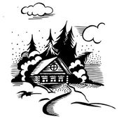 Cabin in the woods — Stock Vector