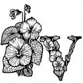 Violet bouquet litera V — Stock Vector