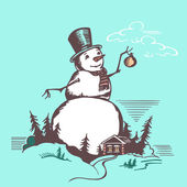 Big snowman — Stock Vector