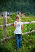 Cute girl on the background of the summer agricultural landscape — Stock Photo