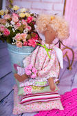 Doll handmade fabric flowers on a background — Stockfoto