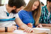 Student cheating on exams — Stock Photo