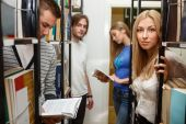 Group of student in the library — Stock Photo