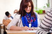 Student girl writing at school — Stock Photo
