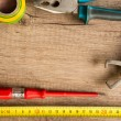 Wooden background with different tools — Stockfoto #54813965