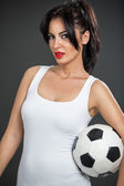 Cute woman  with soccer ball — Stock Photo