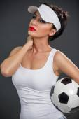 Attractive babe with soccer ball — Stock Photo