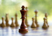 King in the middle of the chessboard — Stock Photo