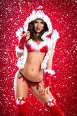 Alluring woman in sexy Santa Claus clothes — Stock Photo