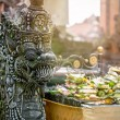Temple offerings to Hindu God, Bali, Indonesia — Stock Photo #68801613