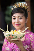 Young Asian woman with offering for gods — Stock Photo