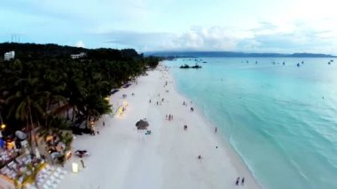 3.Aerial flight above the ocean, spin from the sunset to the coast  -Boracay, Philippines — 图库视频影像