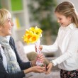 Girl giving a bunch of flowers to her grandmother — Stock Photo #75911877