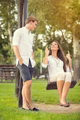 Romantic couple in the park — Stock Photo