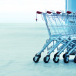 Shopping carts on a parking lot — Stock Photo #61049237