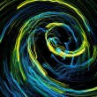 Yellow and blue lines rotating on black background — Stock Photo #61049383