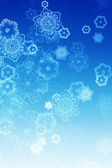 Illustrated snow falling on blue background — Stock Photo