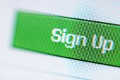 Closeup of Sign Up button on a LCD screen — Stock Photo