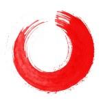 Round red brush stroke — Stock Photo #68253193