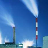 Factory chimneys at night — Stock Photo