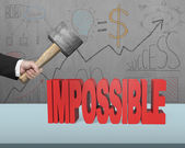 Cracking impossible 3D word on desk  — Stock Photo