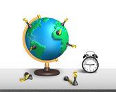 Szachy stanąć na globu ziemskiego 3d mapy z zegarem — Zdjęcie stockowe