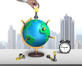 Hand hold chess on 3d map globe with clock — Stock Photo