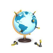 Dollar chess stand on terrestrial globe — Стоковое фото