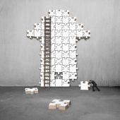 Man push puzzle with arrow shape — Stock Photo