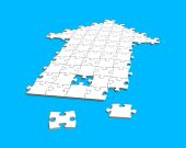 Puzzles in arrow shape — Stock Photo