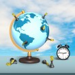 Dollar chess on terrestrial globe with clock — Stock Photo #71161659