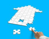 Forefinger with puzzles in arrow shape — Stock Photo