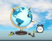 Dollar chess on terrestrial globe with clock — Stock Photo
