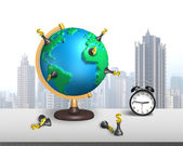 Dollar chess stand on 3d map globe with clock — Stock Photo