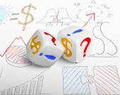 Two currency dices — Stock Photo
