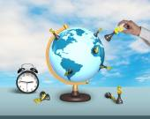 Hand hold dollar chess on terrestrial globe with clock — Stock Photo