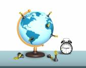 Chess stand on terrestrial globe with clock — Stock Photo
