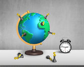 Chess stand on 3d map globe with clock — Stock Photo