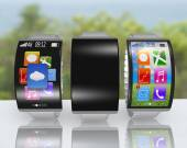 Group of ultra-thin curved screen smartwatch with metal watchban — Stock Photo