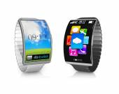 Pair ultra-thin bent interface smartwatch with metal watchband — Stock Photo