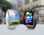 Couple ultra-thin curved screen smartwatch with metal watchband — Stock Photo