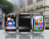 Group of ultra-lightweight curved screen smartwatch with steel w — Stock Photo