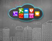 App icons on black cloud with buildings doodles concrete wall — Stock Photo