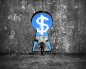 Businessman pushing keyhole door with dollar sign shape cloud vi — Stock Photo