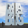 Big data 3D gray word wood ladder with business people — Stock Photo #81141390