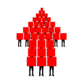 Red arrow up shape composed of boards holding by men — Stock Photo