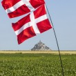 Mont Saint Michel Monastery and Norwegian Flags — Stock Photo #52160109