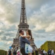Couple in Front of Eiffel Tower — Stock Photo