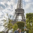 Couple taking slefie near Eiffel Tower — Stock Photo #55141721