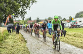 The Cyclist Lars Boom on a Cobbled Road - Tour de France 2014 — Stock Photo